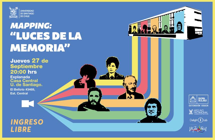 """La vida universitaria de la UTE vuelve a la Casa Central de la Usach a través del mapping """"Luces de la Memoria"""""""